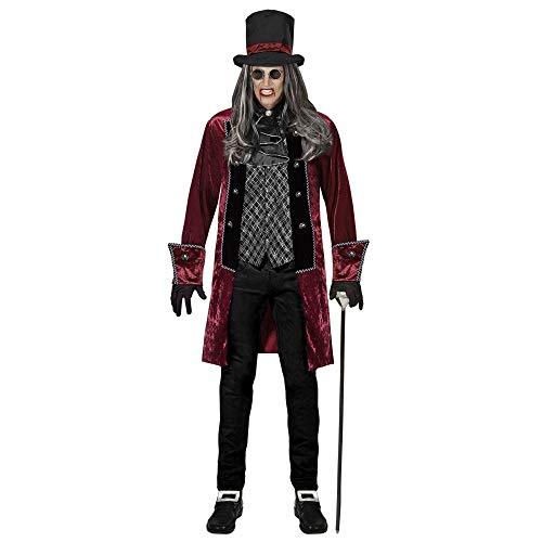 Widmann 07662 - Kostüm Viktorianischer Vampir, Set bestehend aus Jacke mit Weste, Jabot, Handschuhe u. Hut, Farbe: Rot, Silber, Schwarz, Verkleidung für Herren, Halloween und Karneval