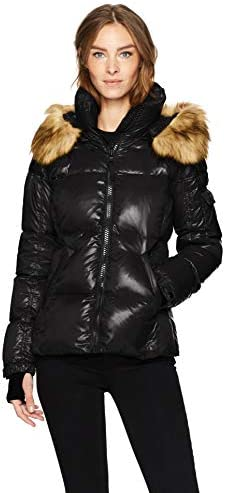 S13 Women s Kylie Down Puffer Jacket with Faux Fur Trimmed Hood Jet Large product image