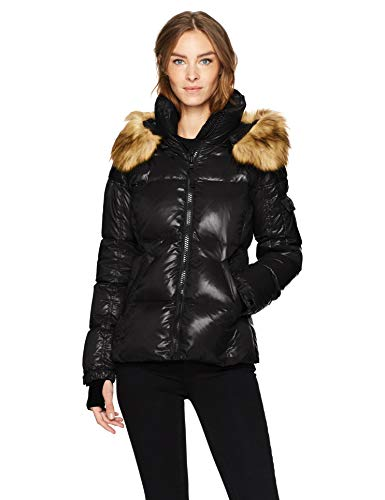 S13 Women's Kylie Down Puffer Jacket with Faux Fur Trimmed Hood, Jet, Small