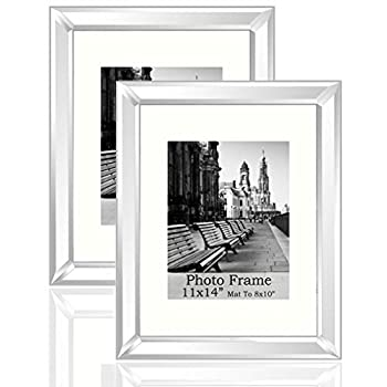 """Meetart Standard Flat Silver Mirror Picture Frame 11x14 Inch With Mat For 8x10"""" Photo Set Pack of 2 Piece Wall Hang Portrait Or Landscape for Wall Decor Upgrade With Better Package。"""