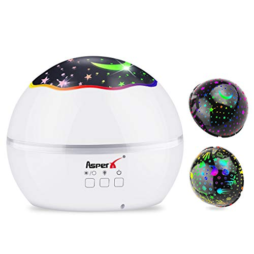 Sternenhimmel Projektor Lampe, AsperX LED Nachtlicht Lampe Baby Nachtlicht, Ozeanwellen Projektor & Sternenlicht Projektor, 360° Grad Rotation mit 8 Farben für Deko/Kinder/Erwachsene/Zimmer