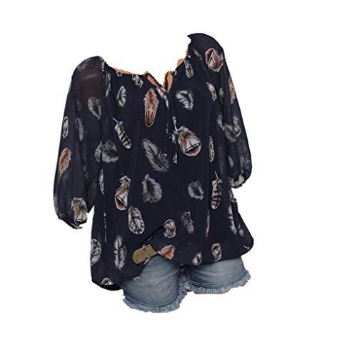 Riou Economiche Chiffon Bluse e Camicia Donna Elegantei Primavera Manica Corta Stampa Taglie Forti Sciolto Casual Sexy Moda Plus Size Camicetta Stand Blusa Top Shirt