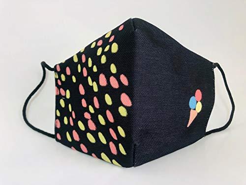 Mascarilla reutilizable negra estampada puntos helado original divertida colorida elegante
