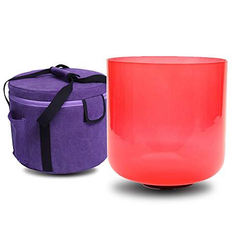 Cuenco de cristal de cuarzo para cantar con forma de C # Adrenals Chakra de color rojo transparente de 17 cm, incluye una bolsa de maleta y una junta tórica