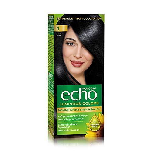 FARCOM Echo Haarfarbe mit natürlichem Olivenextrakt und Vitamin C 60ml (1 ebony black)