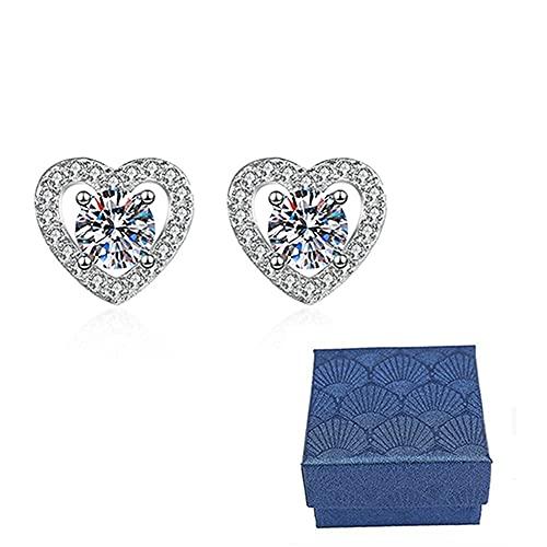 1 par de pendientes de corazón con piedra natal para mujeres y hombres