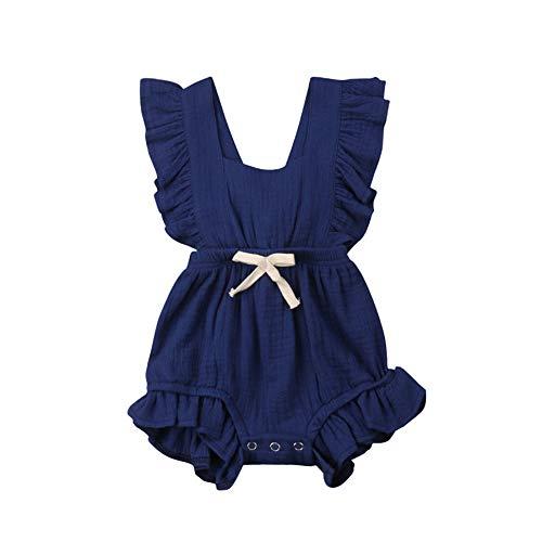 Cotrio Macacão de bebê para meninas recém-nascido macacão Infantil com Babado roupas casuais de verão 0-6 meses azul escuro