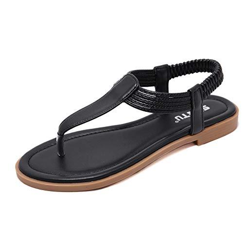 Sandalias Planas Verano Mujer Estilo Bohemia Zapatos de Dedo Sandalias Talla Grande Cinta Casuales Playa Chanclas Romanas de Mujer