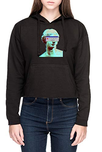 Vaporwave Cegado Mujer Sudadera con Capucha de Crop Negro Women's Crop Hoodie Sweatshirt Black