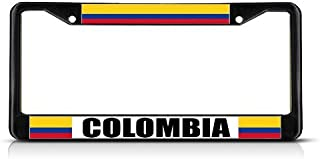 COLOMBIA COLOMBIAN FLAG COUNTRY Black Heavy Duty Metal License Plate Frame
