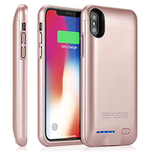 YISHDA Battery Case for iPhone X/Xs, 4000mAh Slim Magnetic Rechargeable External Backup Battery Charger Case for iPhone X/Xs/10 Charging Case Protective Cover - Rose Gold