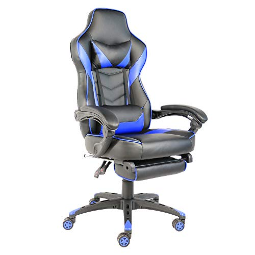 Gaming Computer Chair Durable Office Nylon Foot Racing Chair Foldable with Footrest, Ergonomic Design High Back Lumbar Support Recliner with Headrest (Black & Blue) chair footrest gaming