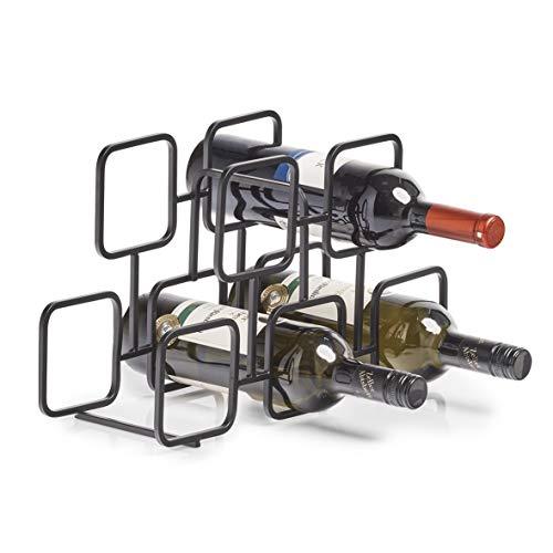 Zeller Weinregal für 5 Flaschen, Metall, schwarz, ca. 38 x 14 x 23 cm
