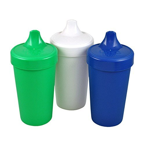 RE-PLAY Made in USA 3pk - 10 oz. No Spill Sippy Cups | Kelly Green, White, Navy | Eco Friendly Heavyweight Recycled Milk Jugs | Virtually Indestructible| BPA Free | Nautical