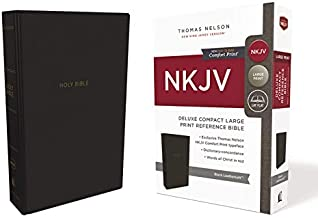 NKJV, Deluxe Reference Bible, Compact Large Print, Leathersoft, Black, Red Letter, Comfort Print: Holy Bible, New King Jam...