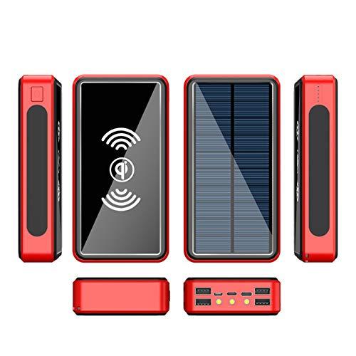 Wttfc Cargador Solar 50000mAh, Power Bank Solar Inalámbrica con 4 entradas y 5 Salida, Bateria Externa Portátil con Linterna LED, Cargador Portatil para iPhone Android Viajes Camping y Más,Rojo