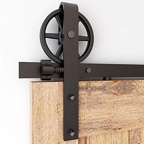 CCJH 200cm/6.6FT Kit de Rail pour Porte Coulissante, Kit de voie de Placard de Porte de Grange pour Une Porte (Forme de Rouleau de Gros Roue)