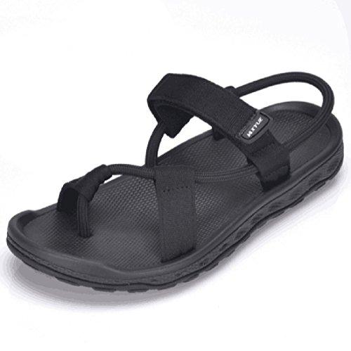 Men sandals 2018 Summer Men Black Beach Sandals Unisex summer flat shoes sandalias para hombre Size (8, Black)
