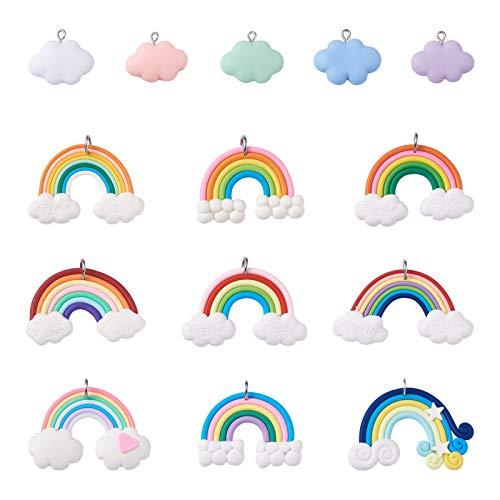 PandaHall 28 colgantes de resina con diseño de nube de arcoíris, ya sea temáticos con lazo chapado en platino para llavero, collar, pulsera, aretes, bricolaje