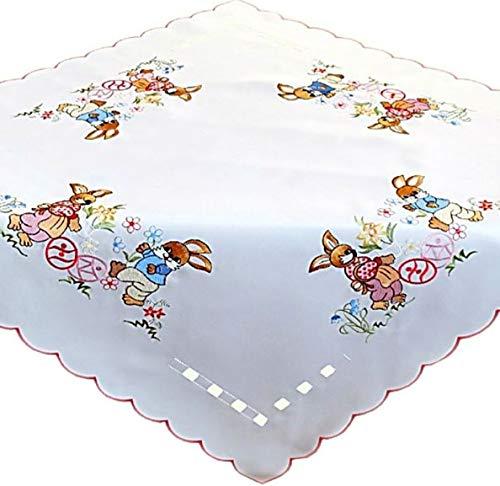 Raebel Tischdecke 85x85 cm OSTERN Weiß Osterhäsin Bunt Osterdecke Polyester Ostertischdecke