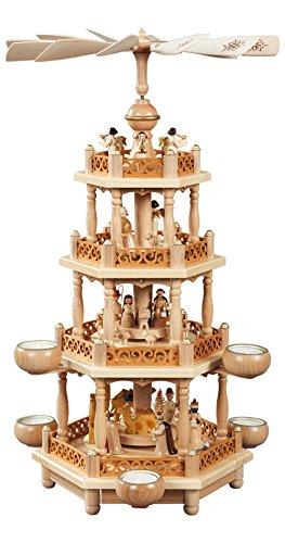 Weihnachtspyramide Erzgebirge Richard Glässer Seiffen Christi Geburt, 3-stöckig, natur für Teelichte, 16703