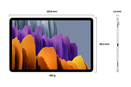 Samsung Galaxy Tab S7, Android Tablet mit Stift, 4G, WiFi, 3 Kameras, großer 8.000 mAh Akku, 11,0 Zoll LTPS Display, 128 GB/6 GB RAM, Tablet in silber