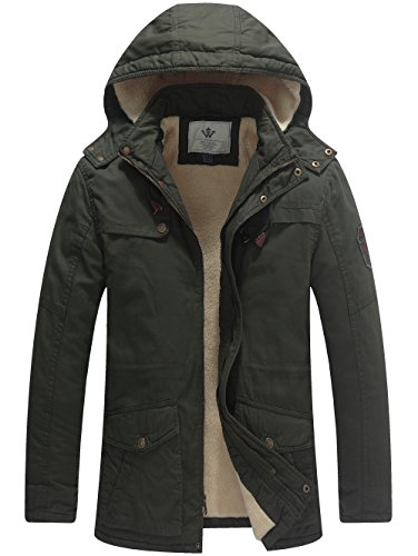 WenVen Men's Cotton Winter Parka Jacket Casual Hooded Warm Coat(Army Green,L)