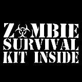 A/X Sticker de Carro 12,2 CM 6,2 CM Kit de Supervivencia Zombie Calcomanía de Vinilo Divertido Walking Dead Living Dead Respone Etiqueta engomada del Coche S8-1155Plata