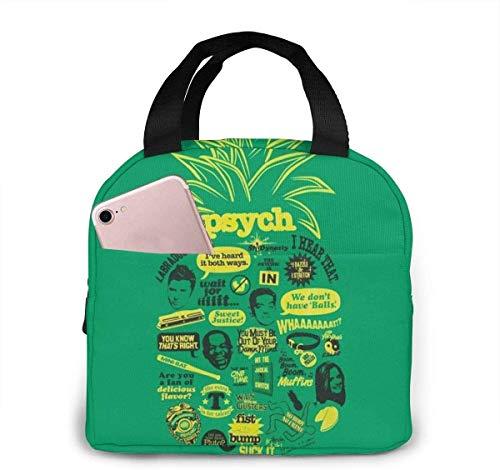 Cool Psych - Bolsa de almuerzo con cotización de piña para mujeres, niñas, niños, bolsa de picnic aislada, enfriador térmico, bolsa grande para preparación de comidas, bonita bolsa grande, a