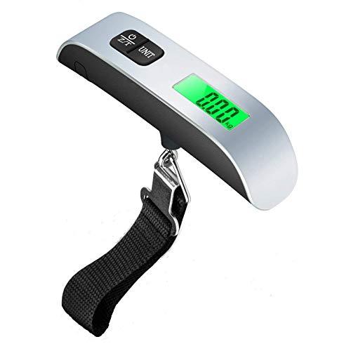 ZYJ Gepäck-Skala, 50Kg / 110Lb Elektronische Digitale Reise Tragender Maßstab, Koffer Waage Mit Temperaturfühler, EIN LCD-Display (Silber)