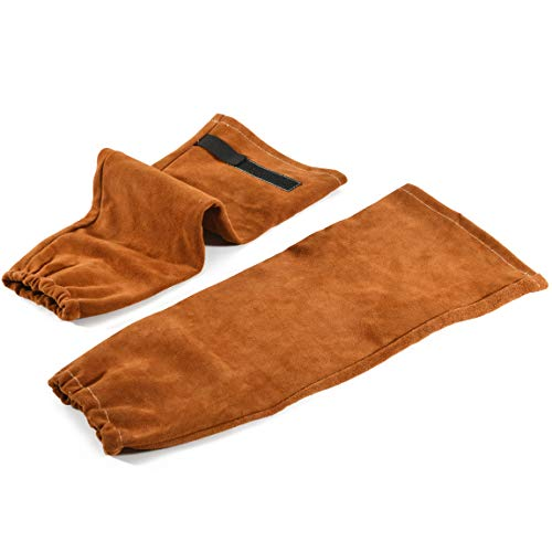 Leather Welding Work Sleeves for Men&Women - Heat & Flame Resistant Arm Protection