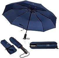VON HEESEN® Regenschirm sturmfest bis 140 km/h - inkl. Schirm-Tasche & Reise-Etui - Taschenschirm mit Auf-Zu-Automatik,...