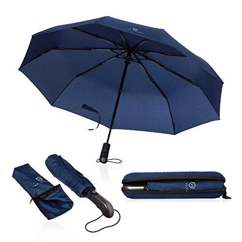 VON HEESEN Regenschirm sturmfest bis 140 km/h - inkl. Schirm-Tasche & Reise-Etui - Taschenschirm mit Auf-Zu-Automatik, klein, leicht & kompakt, Teflon-Beschichtung, windsicher, stabil (Blau)