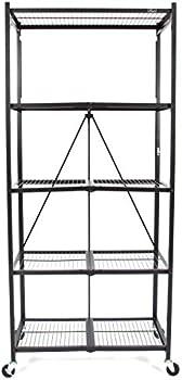 Origami Extra Large Wheeled 5-Shelf Folding Steel Wire Shelving