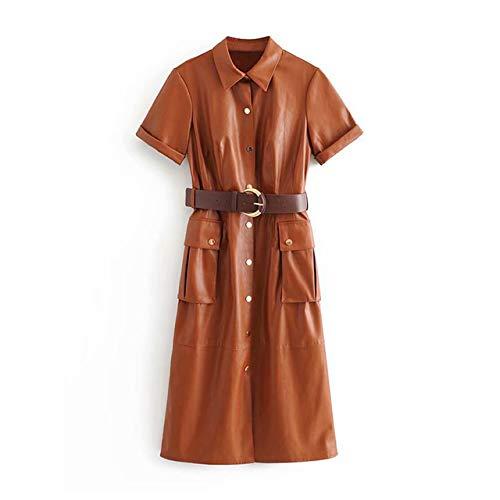 ZCFDD Vestido De Cuero De La PU De Las Mujeres Streetwear
