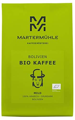 Martermühle   Bio Kaffee Bolivien (1kg)   Ganze Bohnen   Premium Kaffeebohnen aus Bolivien   Schonend geröstet   Kaffee säurearm   100% Arabica