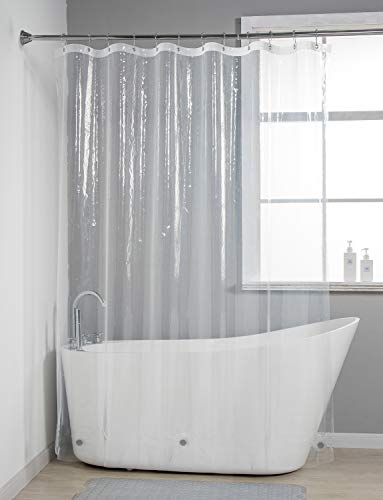 AmazerBath Lightweight Shower Curtain Liner, 72x84 Inches PEVA 3G Shower Curtain Liner with Magnets and 12 Grommet Holes, Waterproof Thin Plastic Liners- Clear