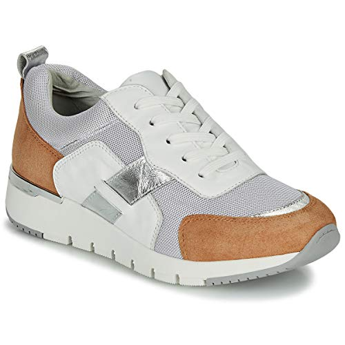 CAPRICE BEBENE Sneakers dames Wit/Camel Lage sneakers
