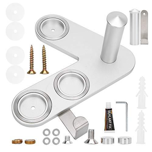 Soporte para secador de pelo, soporte de almacenamiento para ventilador montado en la pared Soporte de suspensión sin taladrar(Plata)