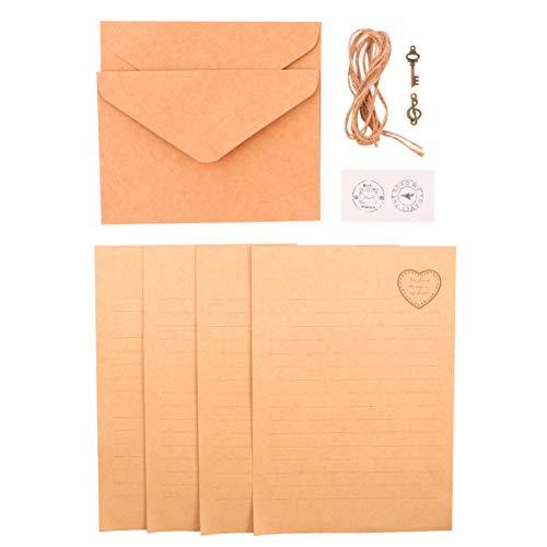 TOYANDONA 2 st vintage kraftpapper kuvert skrivmaterial papper brevuppsättning gratulationskort kuvert inbjudan brevväska för flygpost presentkort