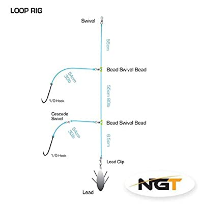 NGT 2 Hook Loop Sea Fishing Rig 1/0 (Bulk Buy 5 Rigs) by NGT