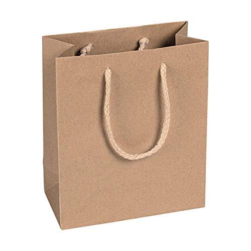 Papieren draagtas bruin, 16 x 19 x 8 cm, met katoenen handvat papieren tas, geschenktas kraftpapier - 12 stuks/verpakking