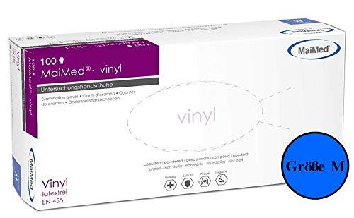 MaiMed® Einweghandschuhe Vinyl Einmalhandschuhe Medizin- & Schutzhandschuhe gepudert Größe M 100 Stück (1 Spendebox)