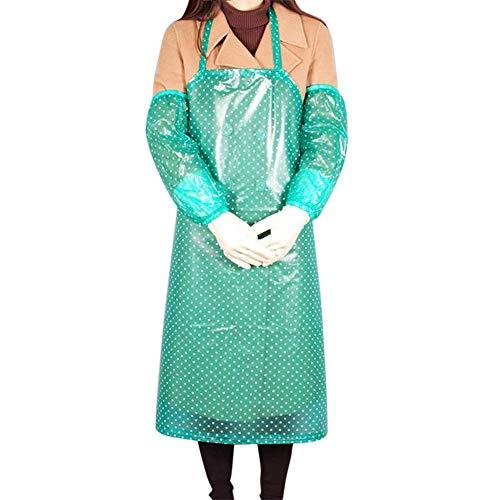 2 Stück Kochkleid Schürzen Mit Ärmel,Pvc Wasserdicht Unisex Arbeitskleidung,Punkt Gartenarbeit Autowaschanlage Schürze,Kosmetikerin Arbeitskleidung Kochschürze Grün