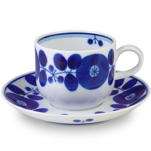 白山陶器 コーヒーカップとソーサー 青 ブルーム 200ml 約7.5×6cm 14.5×2cm 波佐見焼 日本製