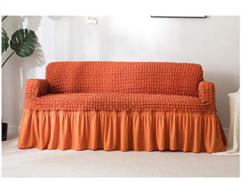 Allenger Elasticated Stretch Sofa Throw,Dicke einfarbige Sofabezug, Sofabezug mit vollem Rock, hochelastischer Rutschfester Kissenbezug-Orange_230 * 300 cm