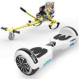 """HITWAY 6.5"""" Hoverboard Patinete Eléctrico con Silla, Scooter Eléctrico Bluetooth Asiento Kart, Self Balancing Scooter Potente Motor con Indicador LED, Regalo para Niños (Blanco-Kart Hip)"""