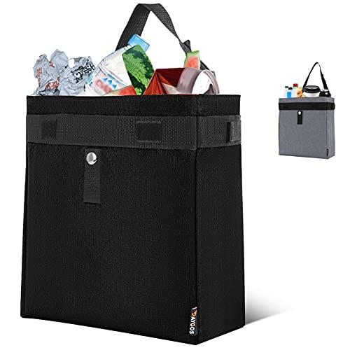 Car Trash Bag Hanging Garbage Can - DAYGOS Waterproof Auto Trash Bag with Leakproof Lining, Cute Car Trash Bin Organizer for Headrest, Black