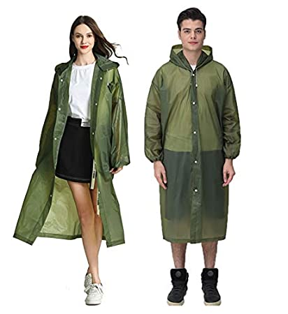 HLKZONE 2 Pack Reusable Rain Poncho with Hood