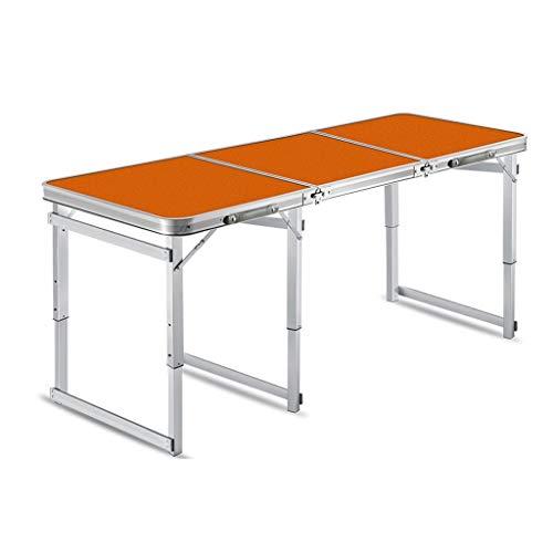 RJJX RJJX Home Klapptisch im Freien zusammenklappbaren beweglichen kampierenden Aluminium Tisch Schreibtisch Einstellbare Klapptisch im Freien beweglichen Grill Tisch Regen (Color : Orange)
